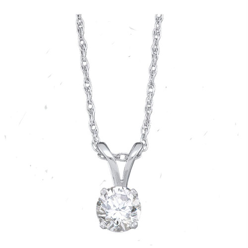 14kt White Gold Womens Round Diamond Solitaire Pendant 1.00 Cttw