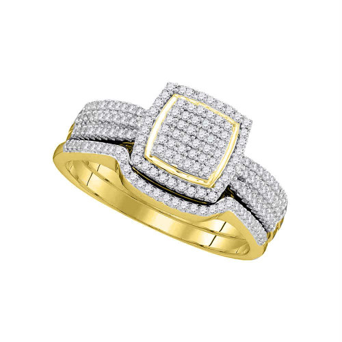 10kt Yellow Gold Womens Round Diamond Square Cluster Bridal Wedding Engagement Ring Band Set 1/2 Cttw