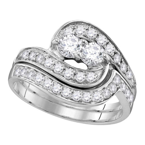 10kt White Gold Womens Round Diamond 2-Stone Hearts Together Bridal Wedding Engagement Ring Band Set 1/2 Cttw