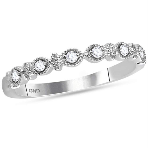 14kt White Gold Womens Round Diamond Milgrain Stackable Band Ring 1/10 Cttw