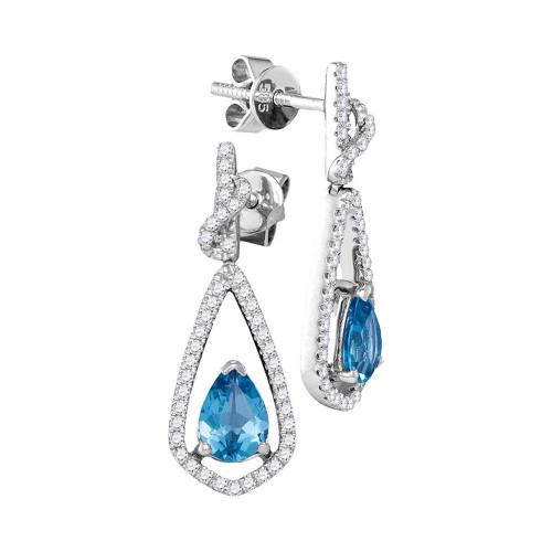 14kt White Gold Womens Pear Blue Topaz Solitaire Teardrop Diamond Frame Dangle Earrings 1/3 Cttw