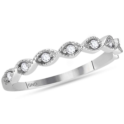 14kt White Gold Womens Round Diamond Stackable Band Ring 1/10 Cttw - 118549