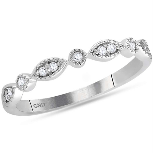 14kt White Gold Womens Round Diamond Stackable Band Ring 1/10 Cttw - 118540