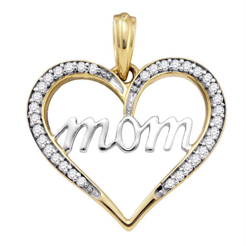 10k Yellow Gold Diamond Mom Mother Heart Love Anniversary Pendant 1/10 Cttw