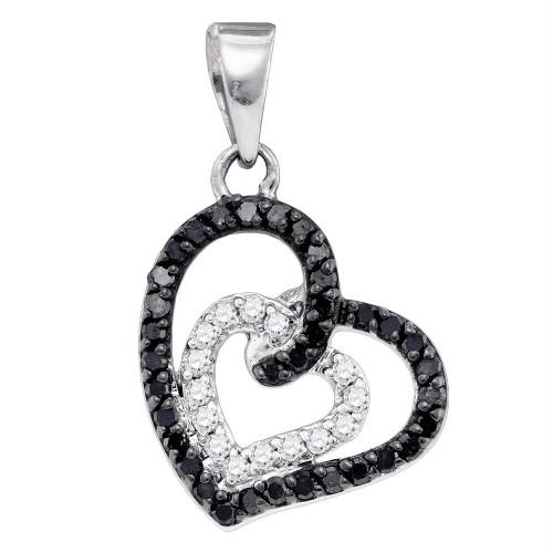 10k White Gold Black Color Enhanced Round Pave-set Diamond Womens Open-Center Heart Pendant 1/3 Cttw