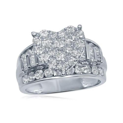 10kt White Gold Womens Round Diamond Heart Cluster Bridal Wedding Engagement Ring 2.00 Cttw