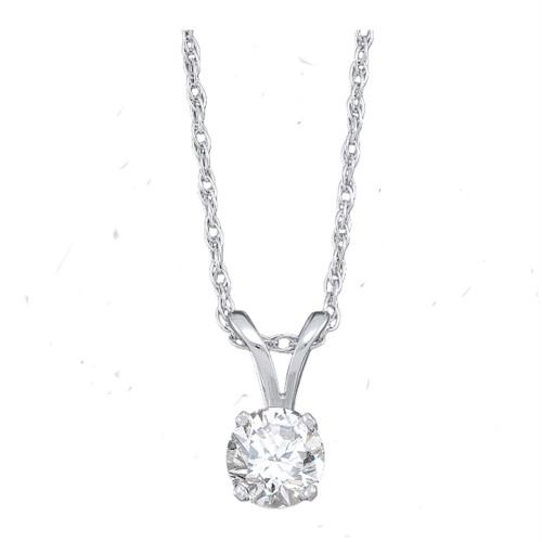 14kt White Gold Womens Round Diamond Solitaire Pendant 1/4 Cttw - 62260