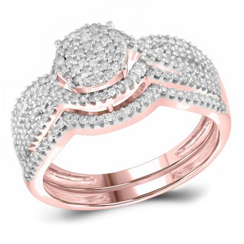 10kt Rose Gold Womens Round Diamond Cluster Bridal Wedding Engagement Ring Band Set 1/2 Cttw