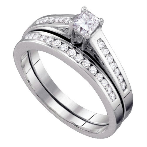 10kt White Gold Womens Princess Diamond Bridal Wedding Engagement Ring Band Set 1/2 Cttw Size 6