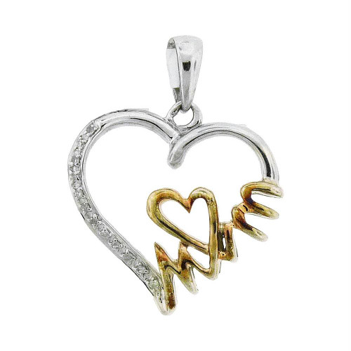 Sterling Silver Womens Round Diamond Yellow-tone Mom Heart Pendant 1/20 Cttw