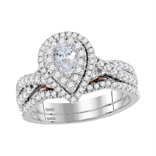 14kt White Gold Womens Pear Diamond Bridal Wedding Engagement Ring Band Set 1.00 Cttw - 118415