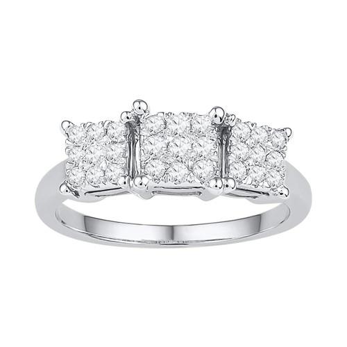 10kt White Gold Womens Round Diamond Triple Cluster Bridal Wedding Engagement Ring 1/4 Cttw - 108692