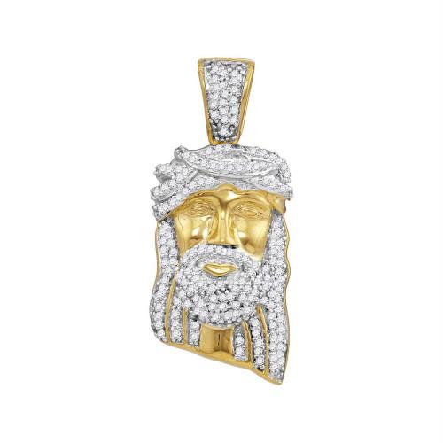 10kt Yellow Gold Mens Round Diamond Jesus Christ Messiah Head Charm Pendant 3/8 Cttw