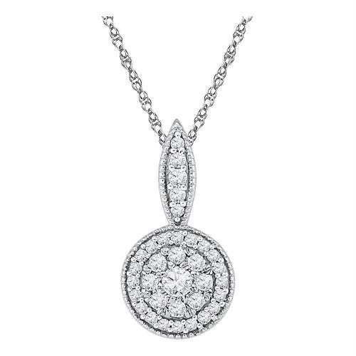 10kt White Gold Womens Round Diamond Circle Frame Flower Cluster Pendant 1/3 Cttw