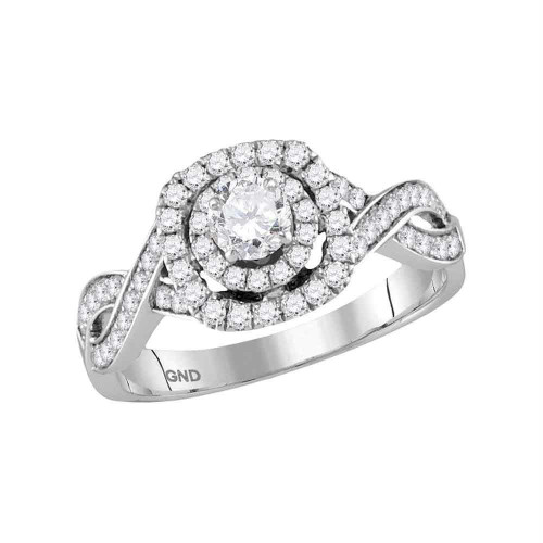 14kt White Gold Womens Round Diamond Solitaire Bridal Wedding Engagement Ring 7/8 Cttw - 118199