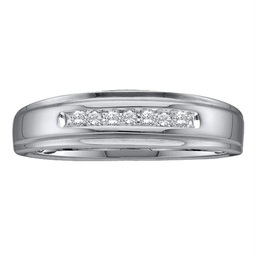 10kt White Gold Mens Round Diamond Channel-set Wedding Anniversary Band Ring 1/12 Cttw