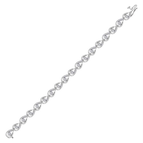 10kt White Gold Womens Round Diamond Teardrop Cluster Fashion Bracelet 1-1/4 Cttw