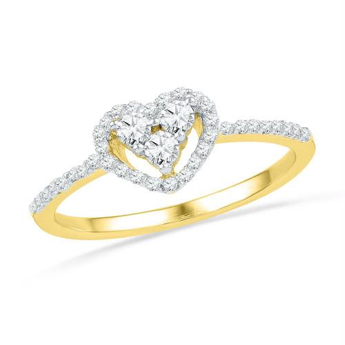 10kt Yellow Gold Womens Round Diamond Slender Framed Heart Cluster Ring 1/4 Cttw