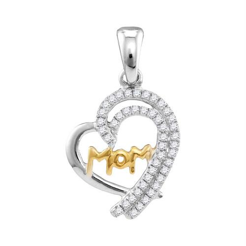 10kt White Gold Womens Round Diamond Two-tone Mom Heart Pendant 1/5 Cttw