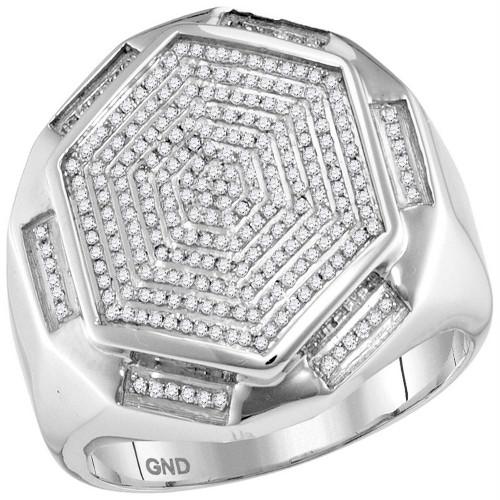 10kt White Gold Mens Round Diamond Hexagon Cluster Ring 1/2 Cttw