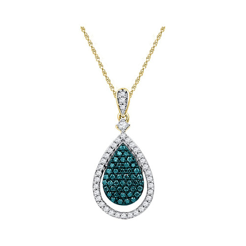 10kt Rose Gold Womens Round Blue Color Enhanced Diamond Teardrop Pendant 5/8 Cttw
