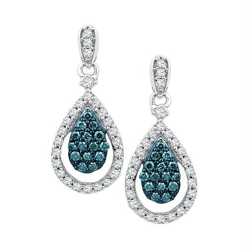 10kt White Gold Womens Round Blue Color Enhanced Diamond Teardrop Dangle Earrings 5/8 Cttw