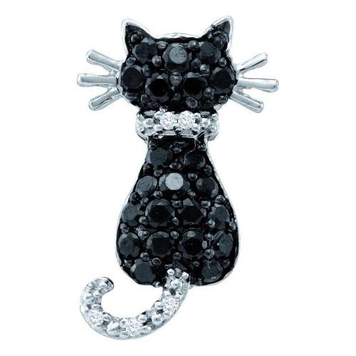 14kt White Gold Womens Round Black Color Enhanced Diamond Animal Kitty Cat Feline Pendant 1/3 Cttw