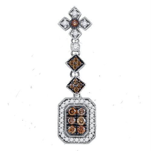 14kt Yellow Gold Womens Round Brown Color Enhanced Diamond Fashion Pendant 1/2 Cttw