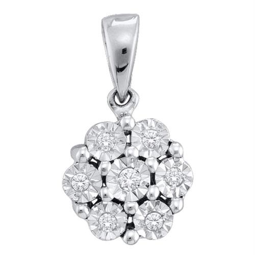 10kt White Gold Womens Round Diamond Cluster Pendant 1/20 Cttw