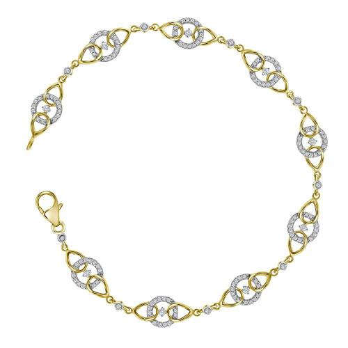 10kt Yellow Gold Womens Round Diamond Linked Circle Fashion Bracelet 1/2 Cttw