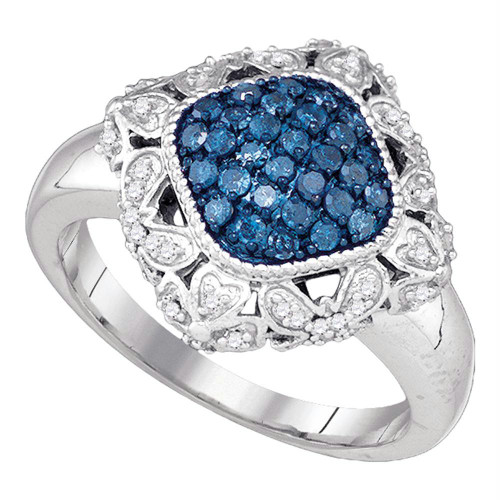 10kt White Gold Womens Round Blue Color Enhanced Diamond Diagonal Square Cluster Ring 1/2 Cttw