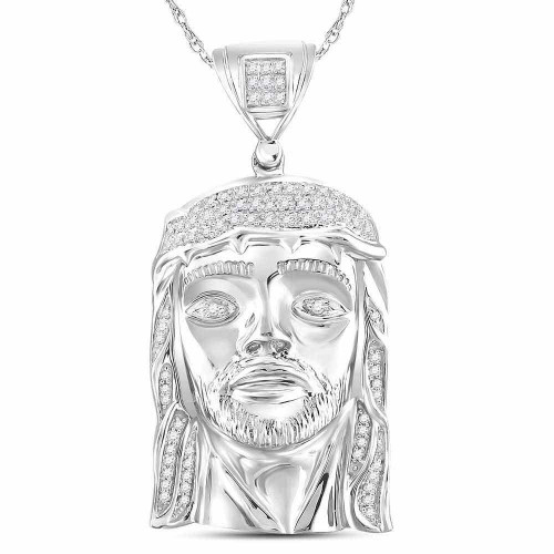 Sterling Silver Mens Round Diamond Jesus Face Christ Charm Pendant 1/4 Cttw - 91041