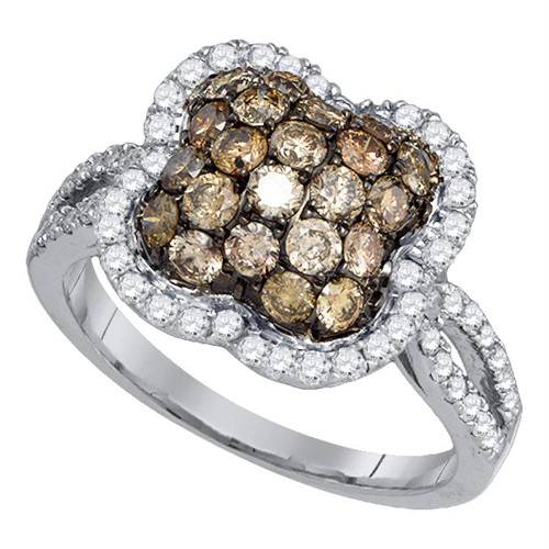 10kt White Gold Womens Round Cognac-brown Color Enhanced Diamond Quatrefoil Cluster Ring 1-1/2 Cttw