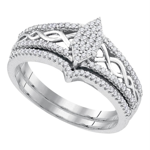 10kt White Gold Womens Round Diamond Oval Cluster Bridal Wedding Engagement Ring Band Set 1/3 Cttw - 92137-5.5