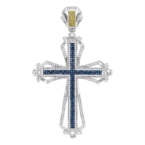 10kt White Gold Mens Round Blue & Yellow Color Enhanced Diamond Cross Charm Pendant 1-1/2 Cttw