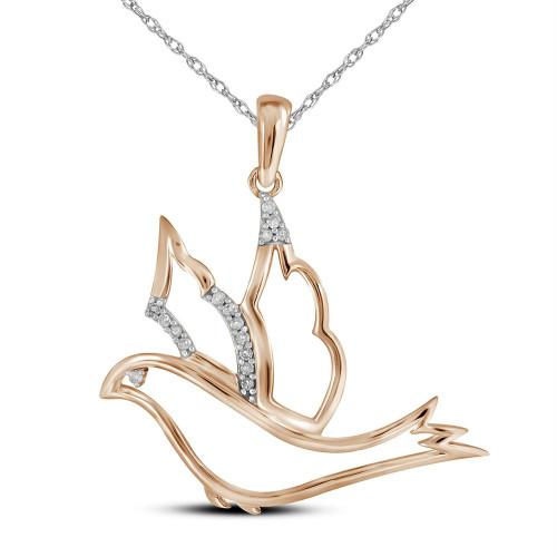 10kt Rose Gold Womens Round Diamond Animal Dove Bird Pendant 1/20 Cttw