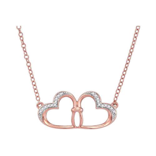 10kt Rose Gold Womens Round Diamond Heart Love Pendant Necklace 1/20 Cttw