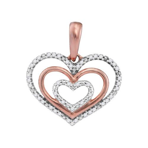 10kt Rose Gold Womens Round Diamond Triple Nested Heart Love Pendant 1/10 Cttw