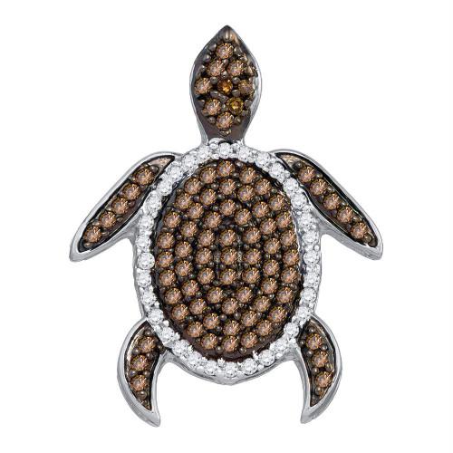 10kt Yellow Gold Womens Round Cognac-brown Color Enhanced Diamond Sea Turtle Tortoise Pendant 1/3 Cttw