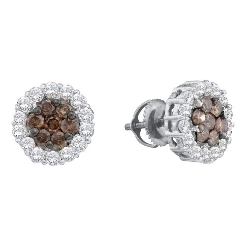 14kt White Gold Womens Round Cognac-brown Color Enhanced Diamond Flower Cluster Screwback Earrings 3/4 Cttw
