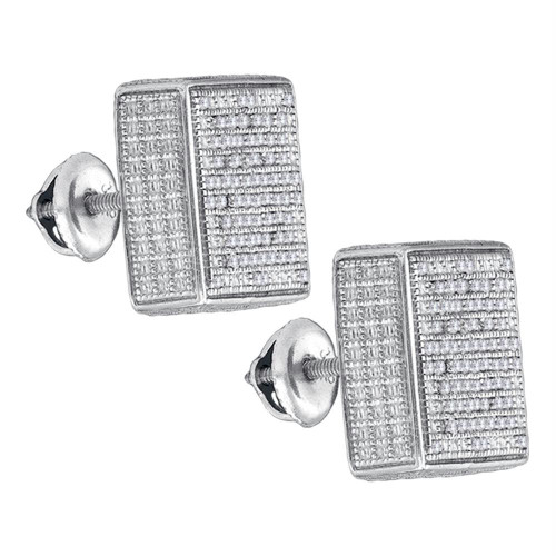 Sterling Silver Mens Round Pave-set Diamond 3D Square Cluster Stud Earrings 1/2 Cttw