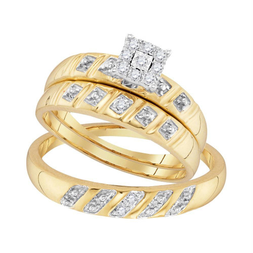 10kt Yellow Gold His & Hers Round Diamond Cluster Matching Bridal Wedding Ring Band Set 1/8 Cttw - 96757-8.5