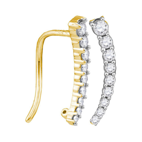 10kt Yellow Gold Womens Round Diamond Graduated Journey Climber Earrings 1/4 Cttw