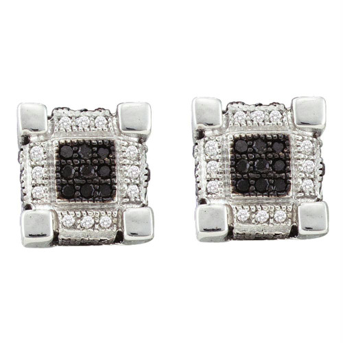 10kt White Gold Mens Round Diamond 3D Cube Square Cluster Stud Earrings 1/4 Cttw