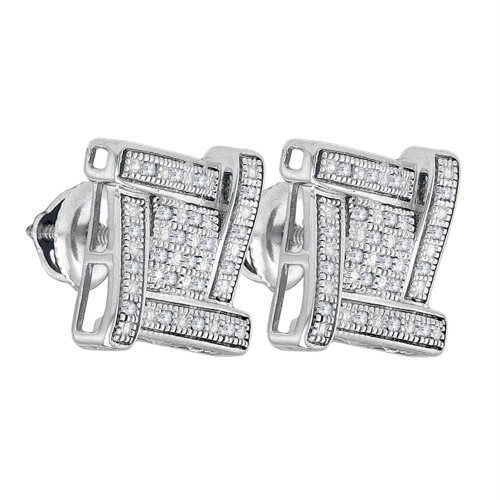 Sterling Silver Mens Round Diamond Square Cluster Stud Earrings 1/8 Cttw - 82682