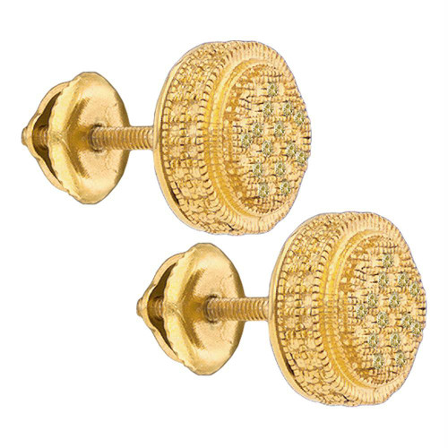 Yellow-tone Sterling Silver Round Yellow Color Enhanced Diamond Cluster Earrings 1/10 Cttw