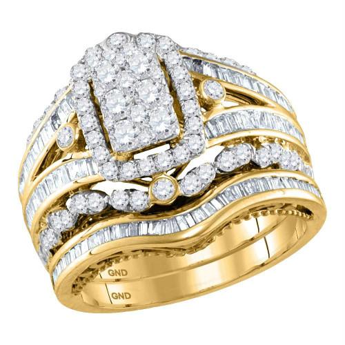 14kt Yellow Gold Womens Round Diamond Bridal Wedding Engagement Ring Band Set 2.00 Cttw