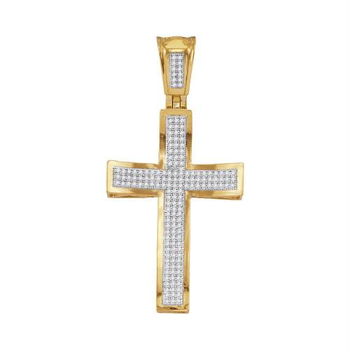 10kt Yellow Gold Mens Round Diamond Concave Cross Charm Pendant 1/2 Cttw