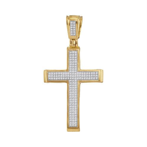 10kt Yellow Gold Mens Round Diamond Roman Cross Charm Pendant 1/2 Cttw - 57754