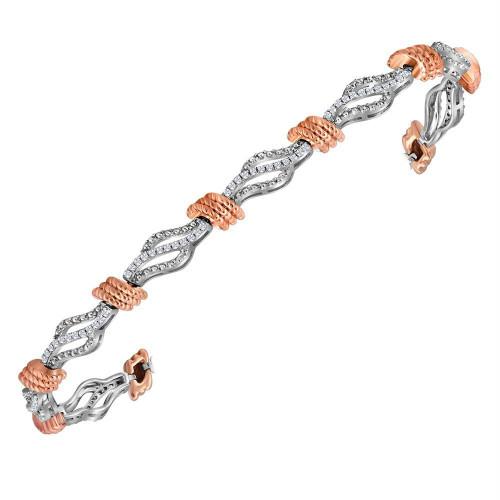 10kt White Gold Womens Round Diamond Rose-tone Rope Tennis Bracelet 1/2 Cttw